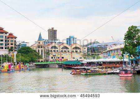 Gebiet um Clarke Quay ist eine historische Riverside Quay In Singapur