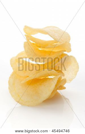 Crisps Isolated On White Background.