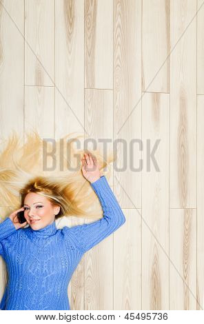 Young woman excited while chatting