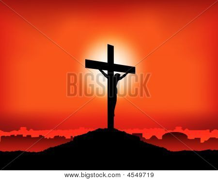 Jesus On Cross Sunset