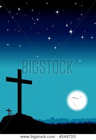 3 Crosses On Hill Blue