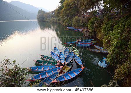 colourful boat at pokhara