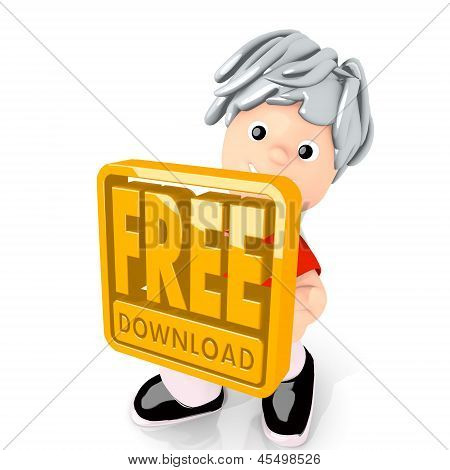 3d graphic of a happy free download icon  carried by a cute boy