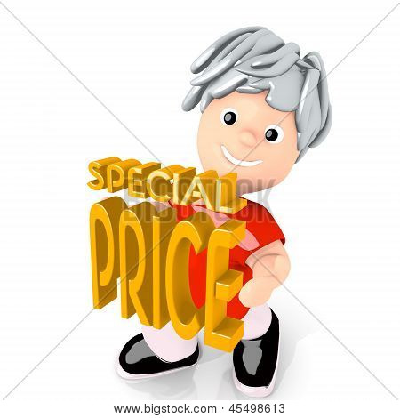 special price symbol  carried by a cute boy