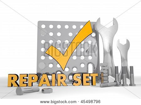 3d render of a well done check pictogram repair set