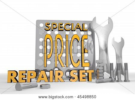 3d render of a mechanical special price icon repair set