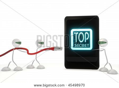 top secret icon on a smart phone with three robots