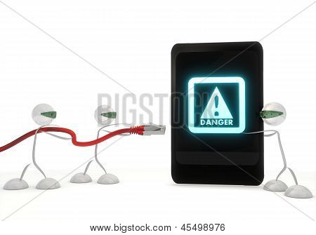 Danger symbol on a smart phone with three robots