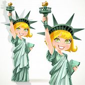 Blond girl dressed as the Statue of Liberty with torch