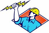 stock photo of lineman  - Illustration of an electrician construction worker holding a lightning bolt set inside diamond shape done in retro style in isolated white background - JPG