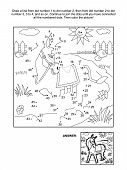image of donkey  - Connect the dots picture puzzle and coloring page  - JPG