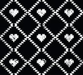 Seamless aztec tribal pattern with hearts - grunge, retro style