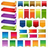 Big Colorful Ribbons And Design Elements, Isolated On White Background