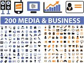 200 universal icons: media, communication, connection, music, marketing, presentation, internet, web