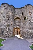 stock photo of chepstow  - A view of the ruins of Chepstow Castle located in Chepstow - JPG
