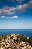 image of sicily  - Panorama of beautifu Taormina under a blue sky - JPG