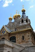 stock photo of magdalene  - Russian Orthodox church of Mary Magdalene at the Mount of Olives in Jerusalem - JPG