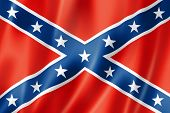 stock photo of rebel flag  - Confederate flag three dimensional render satin texture - JPG
