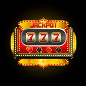 stock photo of poker machine  - vector illustration of casino slot machine showing jackpot - JPG