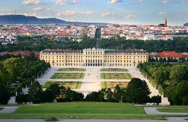 stock photo of schoenbrunn  - View on the Schonbrunn palace in Vienna Austria - JPG