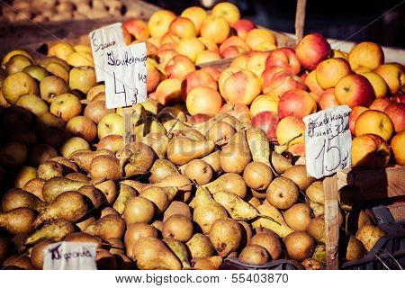 Fresh Pears At A Famers Market In Poland