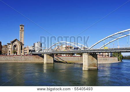 view of the Ebro River passing through Tortosa, Spain
