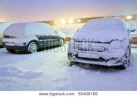 Heavy snowfall over night in Poland