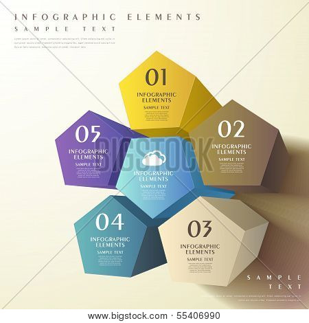 Abstract 3D Pentagonal Prism Infographics