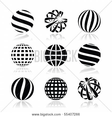 Globe sphere, earth vector icons set