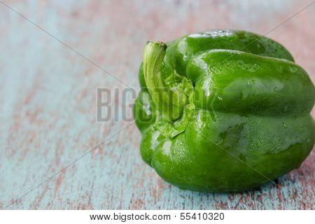 Fresh Sweet Pepper  On Wood Background
