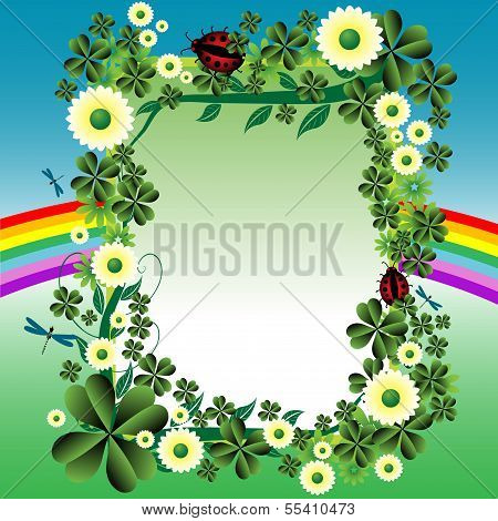 Frame with clovers and flowers