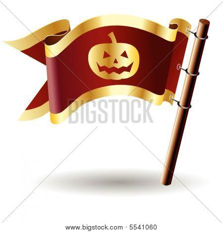 Halloween pumpkin on royal flag