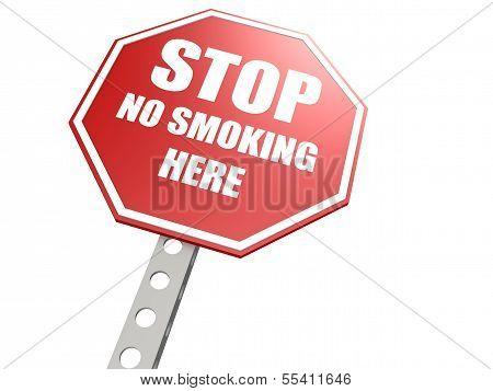 Stop no smoking here road sign