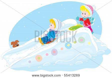 Children on an ice-run