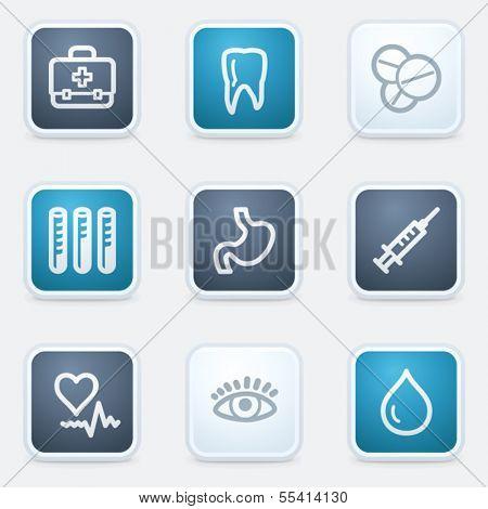 Medicine web icon set 1, square buttons