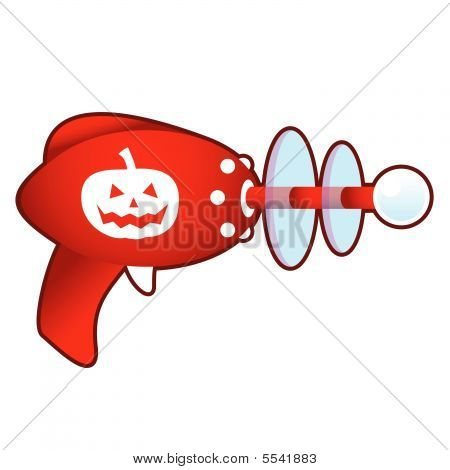 Halloween pumpkin on retro raygun