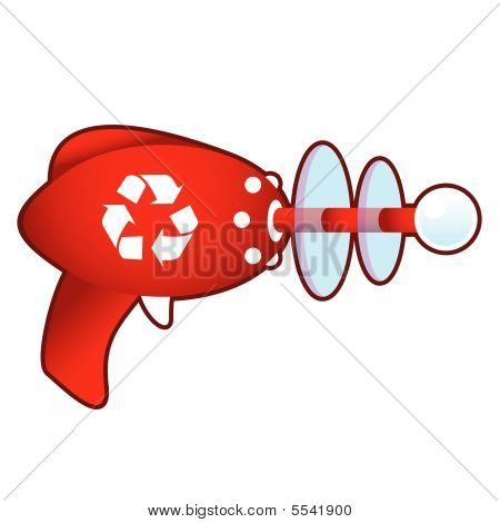 Recycle symbol on retro raygun