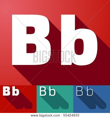 Vector illustration of flat modern long shadow alphabet. Letter b