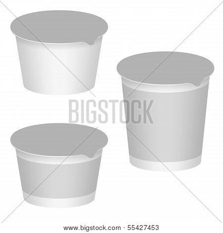 White Blank Packaging For Yogurt
