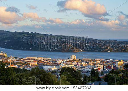 Dunedin City, New Zealand, During Sunset