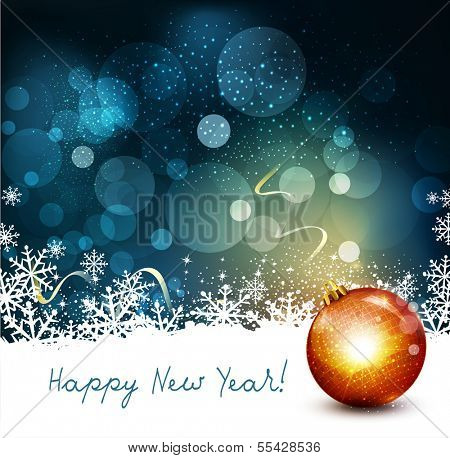 vector holiday background with ball and snowflakes