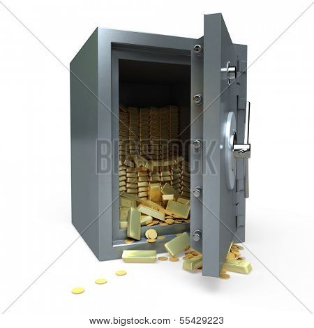 3D rendering of a safe full of gold