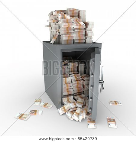 3D rendering of a safe full of fifty euro notes