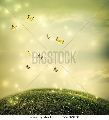 Butterflies In The Fantasy Hilltop Landscape