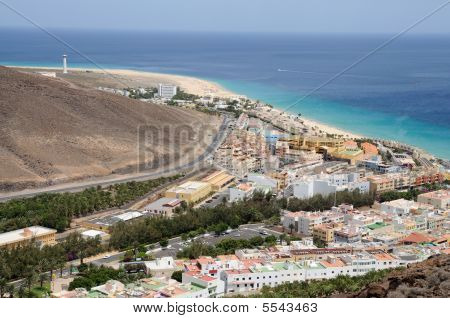 Aerial View Over The Town Morro Jable, Fuerteventura
