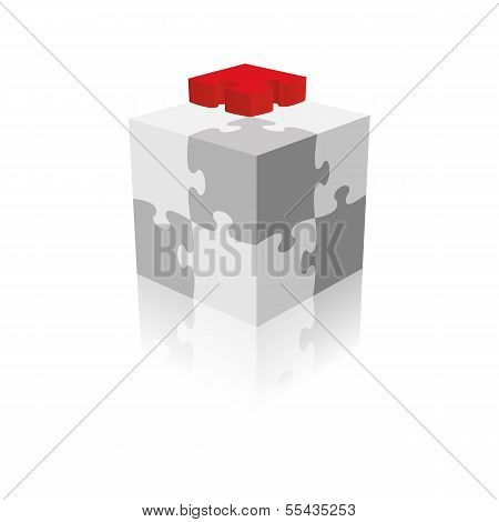 Cube Puzzle. Grayscale With A Red Piece