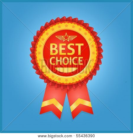 Best choice red label on blue