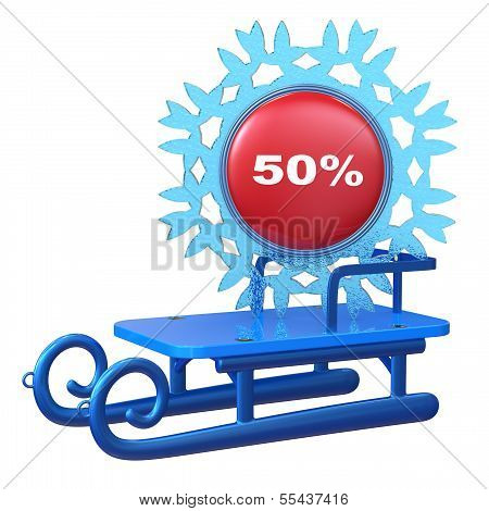 Abstract 3D Sledge With Discount Label Isolated On White Background.