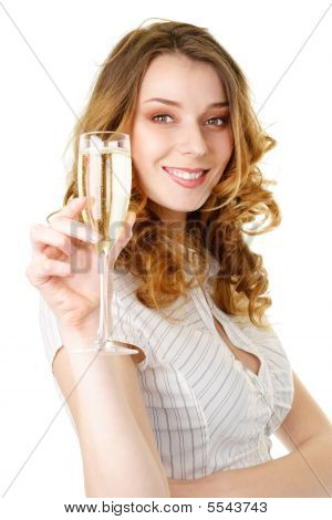 Young Blonde Woman With Champagne Glass