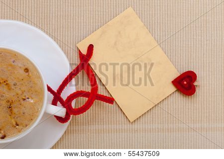 White Cup Coffee Hot Drink Heart Symbol Love Blank Card Copy-space
